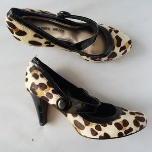Antonio Melani Leopard Print Mohair Pumps Heels